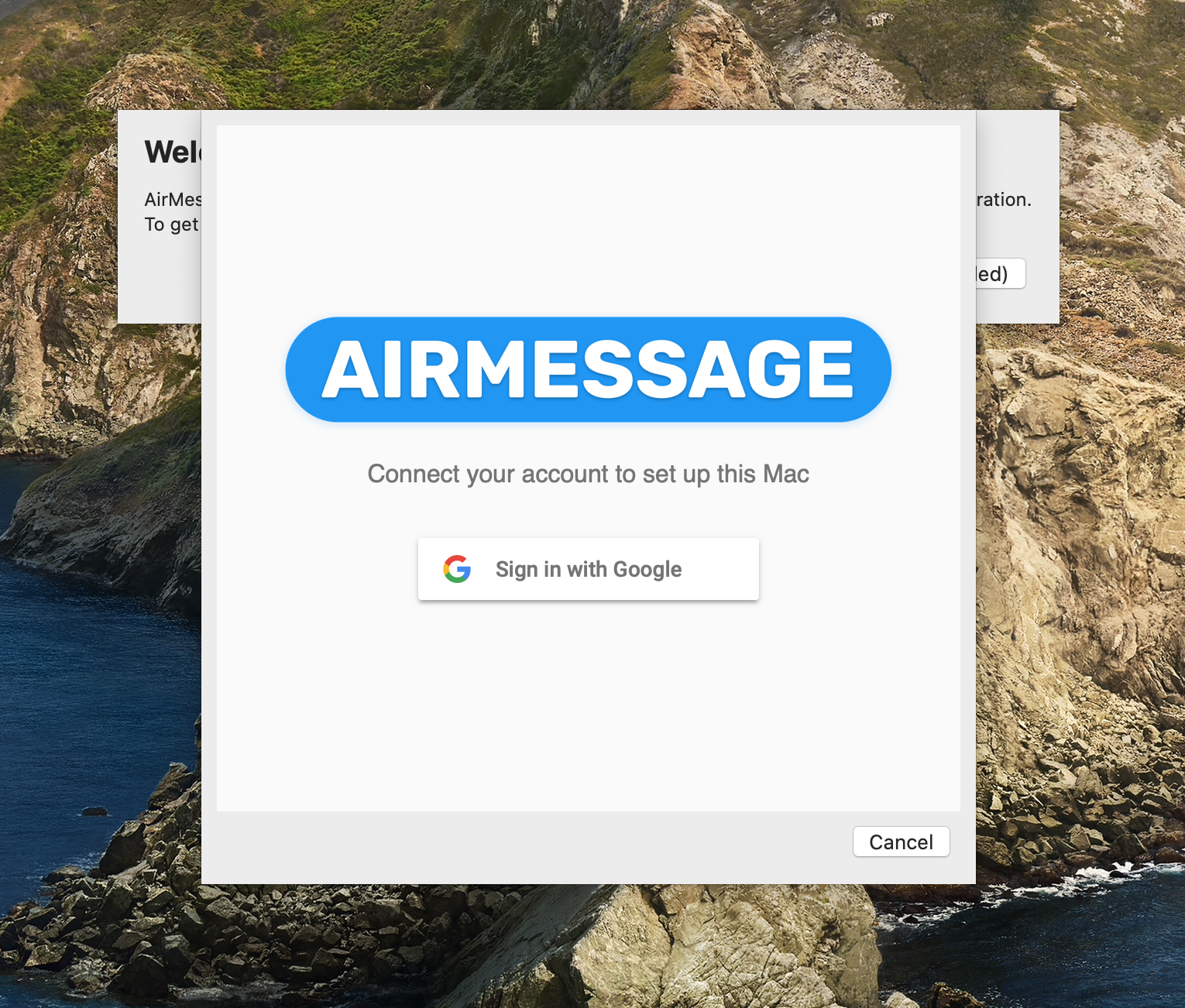 Signing in to AirMessage Server with Google